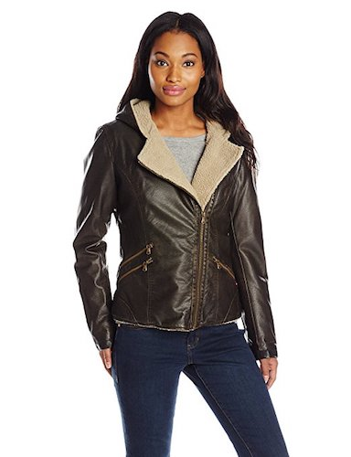 8. Levi's Women's Assymetrical Sherpa-Lined Faux-Fur Jacket