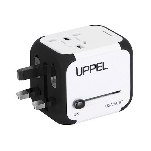 6. Travel Adapter Uppel Dual USB All-in-one Worldwide Travel Chargers Adapters