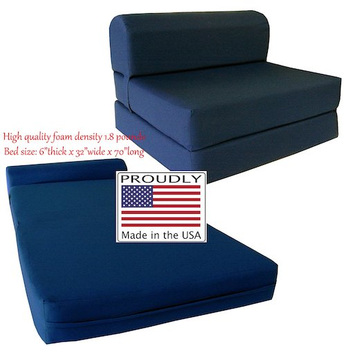 2. D&D Futon Furniture Navy Sleeper Chair Folding Foam Bed