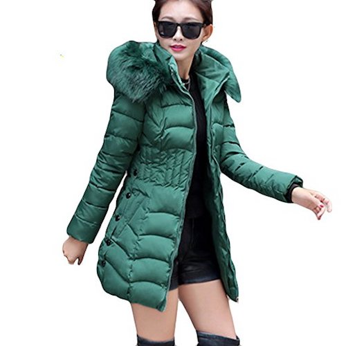 4. LOCOMO Women Synthetic Puffer Insulated Jacket Coat Faux Fur Hooded FFJ058BLKL