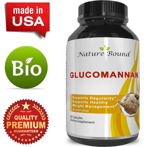 6. Premium Glucomannan Powder Fiber Weight Loss Supplement - Natural Constipation Relief - Appetite Suppressant Capsules - Colon + Blood Sugar + Cholesterol Support for