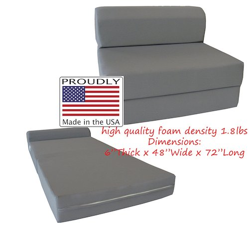 9. D&D Futon Furniture Gray Sleeper Chair Folding Foam Bed