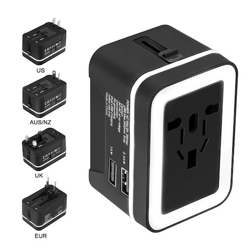 3. Travel Adapter, Xcords Worldwide All in One Universal Travel Plug Adapter AC Power Plug Converter
