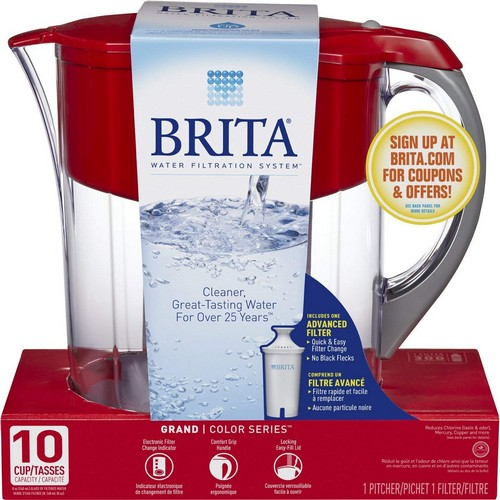 Best Pitcher Water Filters 2. Brita Large 10 Cup Grand Water Pitcher with Filter - BPA Free - Red