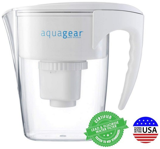 Best Pitcher Water Filters 3. Aquagear Water Filter Pitcher - Fluoride, Lead, Chloramine, Chromium-6 Filter - BPA-Free, Clear