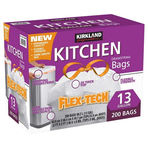 Best Kitchen Bags 4. Kirkland Signature Drawstring Kitchen Trash Bags - 13 Gallon - 200 Count