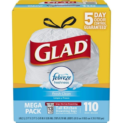 Best Kitchen Bags 1. Glad OdorShield Tall Kitchen Drawstring Trash Bags - Febreze Fresh Clean - 13 Gallon - 110 Count