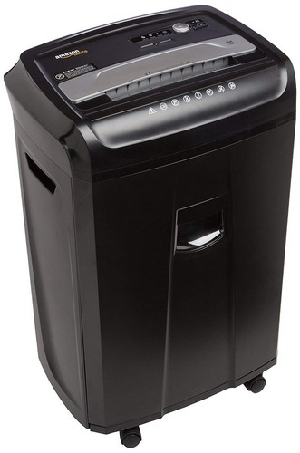 Best Commercial Paper Shredders 2. AmazonBasics 24-Sheet Cross-Cut Paper, CD, and Credit Card Shredder with Pullout Basket