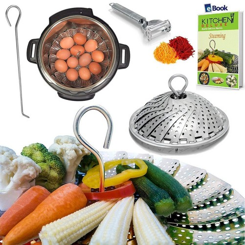 Best Vegetable Steamer Baskets 5. PREMIUM Vegetable Steamer Basket - BEST Bundle - Fits Instant Pot Pressure Cooker 3,5,6 Qt & 8 Quart - 100% Stainless Steel - BONUS Accessories - Safety Tool + eBook + Peeler | For Instapot - Egg Rack