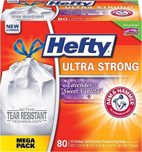 Best Kitchen Bags 3. Hefty Ultra Strong Trash Bags (Lavender Sweet Vanilla, Tall Kitchen Drawstring, 13 Gallon, 80 Count)
