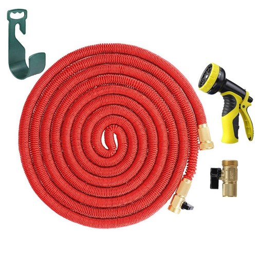 Best Lightweight Garden Hoses 5. HELEN 25FT Expanding Heavy Duty Expandable Strongest Garden Water Hose Triple Latex Core with Shut Off Valve Solid Brass Connector and 9-Pattern Spray Nozzle, 2016 Improved Version(Red)