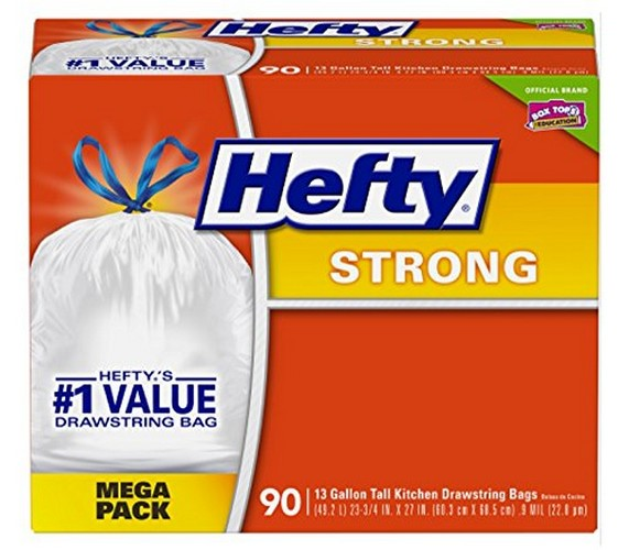 Best Kitchen Bags 8. Hefty Strong Trash/Garbage Bags (Kitchen Drawstring, 13 Gallon, 90 Count)