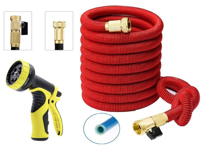 Best Lightweight Garden Hoses 8. IBeaty 100ft Expanding Hose, Upgraded Strongest Expandable Garden Hose Double Latex Core Extra Strength Fabric and Solid Brass Connector with 9-pattern Spray Nozzle (100FT, Red)
