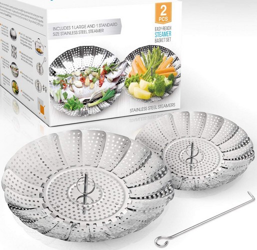 Best Vegetable Steamer Baskets 2. TWO-PACK (Large and Standard) Vegetable Steamer Basket Set - 2x Steamer Inserts for Instant Pot + Safety Tool - 100% Stainless Steel - Pressure Cooker & Instant Pot Accessories, Pot in Pot - Egg Rack