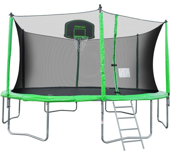 Best Trampolines To Buy 4. Merax 12-Feet Round Trampoline with Safety Enclosure, Basketball Hoop and Ladder
