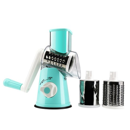 BEST ROTARY CHEESE GRATERS 4. Round Mandoline Drum Slicer Rotary Cheese Grater Veggie Slicer Vegetable Carrot Shredder Nut Chopper