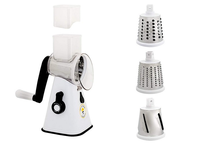 BEST ROTARY CHEESE GRATERS 3. Premium nut chopper veggie slicer cheese shredder Vegetable Slicer Rotary Cheese Grater vegetable slicer nut grinder Rotary Mandoline Vegetable Shredder Rotary Grater Cabbage Shredder Veggie cutter