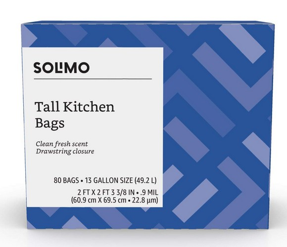 Best Kitchen Bags 10. Solimo Tall Kitchen Drawstring Trash Bags, Clean Fresh Scent, 13 Gallon, 80 Count