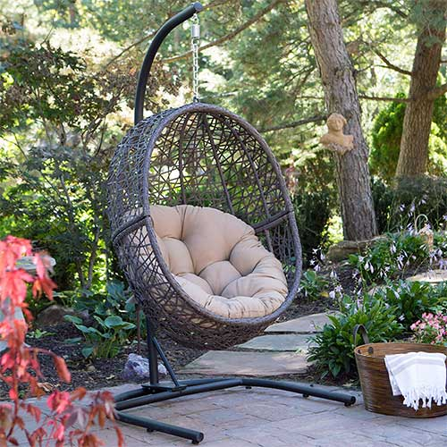 Most Comfortable Hanging Chairs 10. Resin Wicker Espresso Hanging Egg Chair