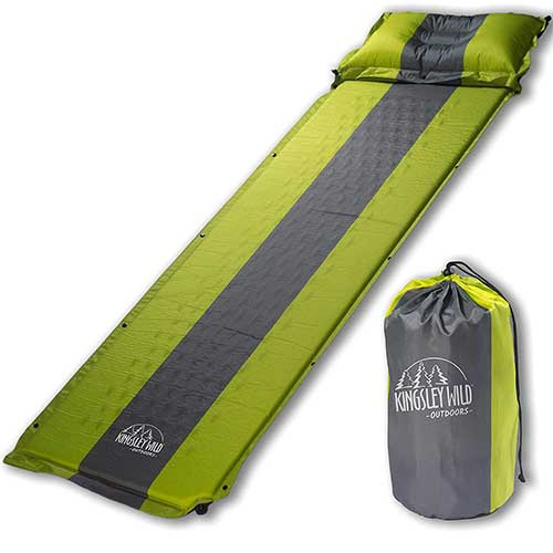 Best Camping Cot Mattress 10. Kingsley Wild Outdoors Self Inflating Sleeping Pad and Pillow