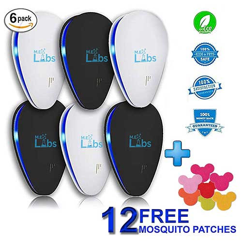 Best Electronic Insect Repellents 6. [2018 Updated] 6-Pack Ultrasonic Pest Control Repeller + FREE Bonus Mosquitoes Patches 12-Pack - Electromagnetic, Indoor Plug-in Repellent