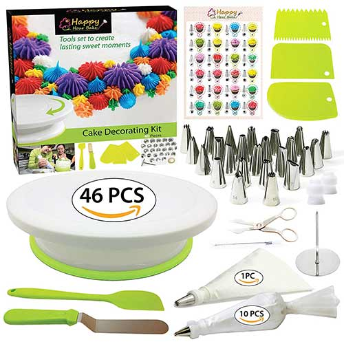 4. Cake Decorating Supplies Kit with Cake Turntable - Baking kit - Silicone Offset Spatula - Pastry Bags - Icing Tips - Cupcake Decorating Kit with Easy Nozzle Set