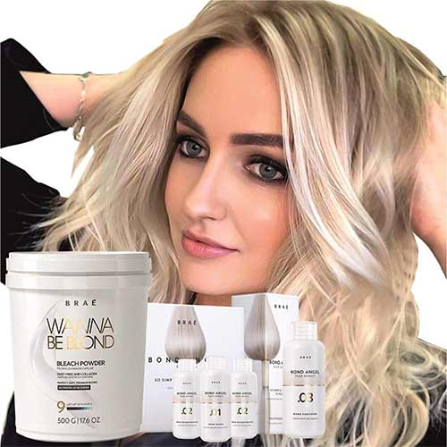 4. Hair Bleaching Set by Brae, Professional Powder Lightener Wanna Be Blond 17.6 oz