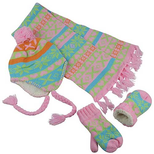 Best Winter Gloves for Toddlers Girl 10. N'Ice Caps Little Girls and Infants Sherpa Lined Knitted 3 PC Set with Designs