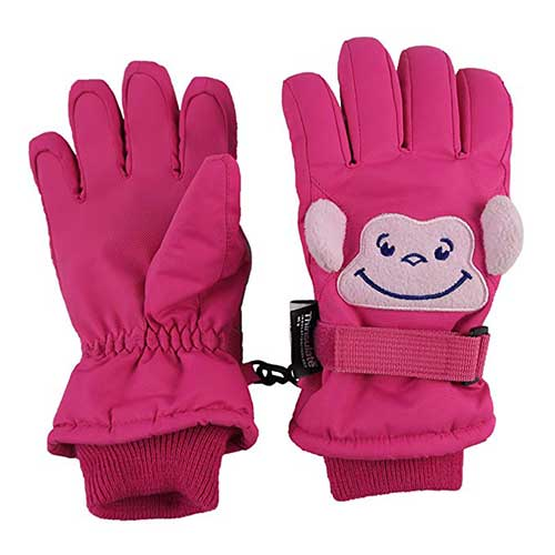 Best Winter Gloves for Toddlers Girl 7. N'Ice Caps Little Kids Squeaky Sound Cute Animal Face Waterproof Gloves