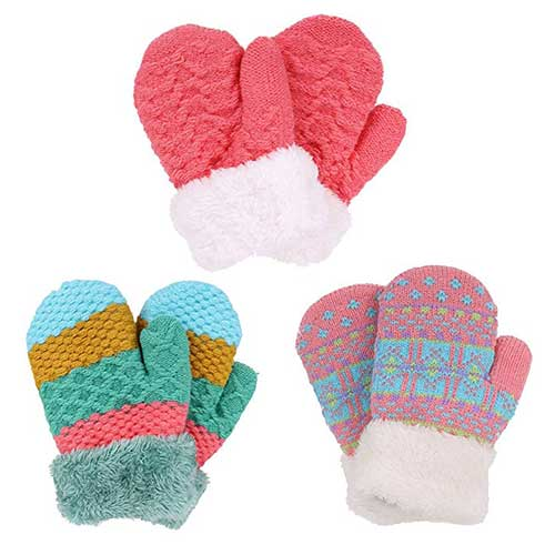 Best Winter Gloves for Toddlers Girl 3. Arctic Paw 3 Pairs Kids' Sherpa Lined Knit Mittens Boys Girls Winter Gloves