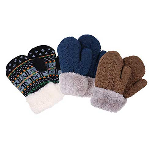Best Winter Gloves for Toddlers Boy 9. YoungLove 3 Pack Toddler Sherpa Lined Winter Knit Mitten Gloves
