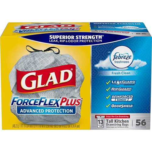 Best Kitchen Bags 7. Glad ForceFlexPlus Advanced Protection Tall Kitchen Drawstring Trash Bags - Febreze Fresh Clean -13 Gallon - 56 Count