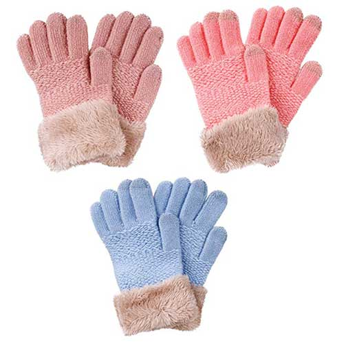 Best Winter Gloves for Toddlers Girl 9. Arctic Paw 2 & 3 Pack Kids Touchscreen Winter Knit Gloves with Faux Fur Cuff
