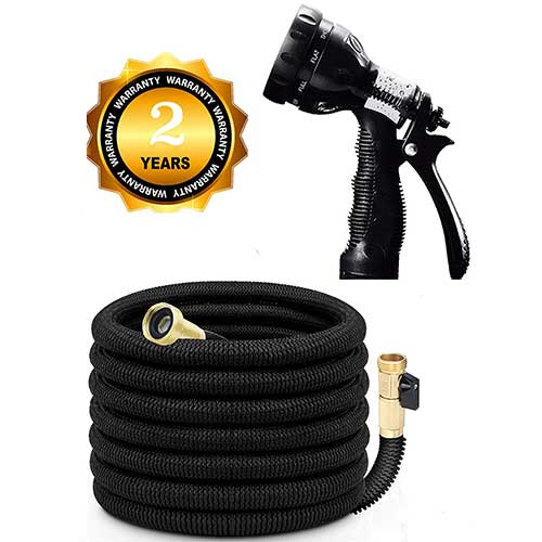 Best Lightweight Garden Hoses 3. AOGOO 75ft Flexible Garden Hose, 2018 Improved Expandable Water Hose 9 Way Spray Nozzle,Storage Bag for Watering Plants, Car, Pet and Cleaning-Black