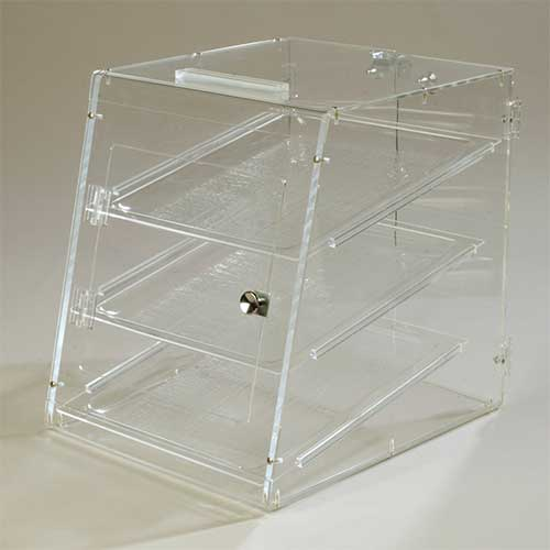 7. Carlisle SPD303KD07 Acrylic Unassembled Three Tray Pastry Display Case