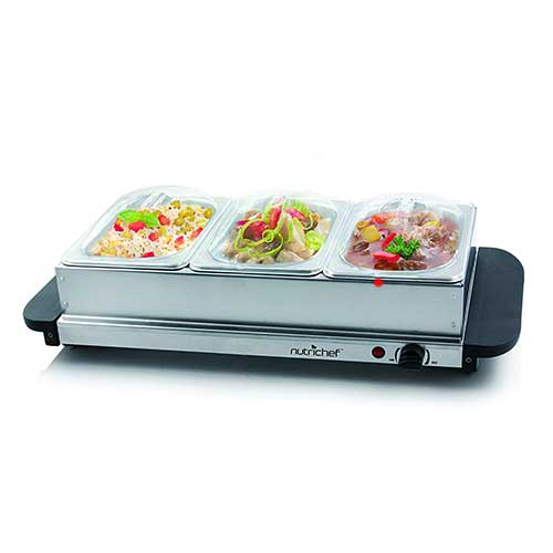 4. NutriChef 3 Buffet Warmer Server - Professional Hot Plate Food Warmer Station