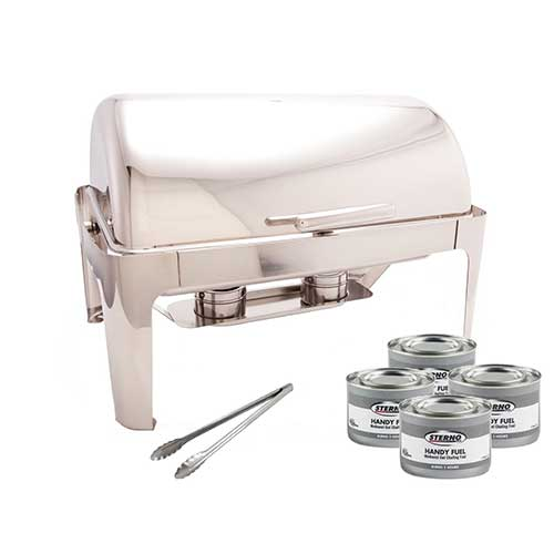 10. PrestoWare PWR-1RE, Full-size Roll-Top Chafer, Stainless Steel 8 Quart Chafing Dish Set