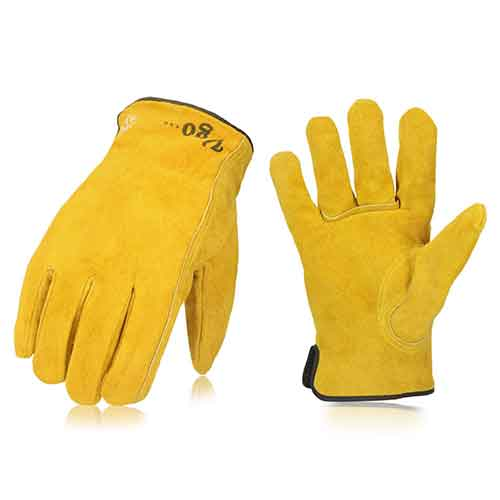 Best Work Gloves for Winter 5. Vgo 3Pairs 32℉ or Above 3M Thinsulate C40 Winter Lined Cowhide Split Leather Work and Driver Gloves
