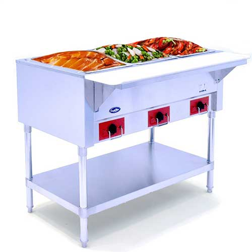 9. Commercial Electric Steam Table, Electric Food Warmer COOKRATE 110V 3 Open Stainless Steel Steam Warmer Table