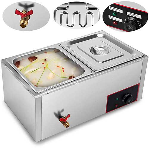 5. VEVOR 110V Commercial Food Warmer Electric Food Warmer 850W Stainless Steel Bain Marie Buffet Food Warmer Steam Table
