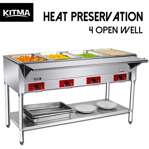 1. Commercial Electric Steam Table, Electric Food Warmer COOKRATE 110V 3 Open Stainless Steel Steam Warmer Table