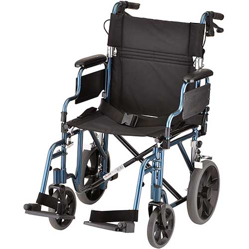 "8. NOVA Lightweight Transport Chair with Locking Hand Brakes, 12"" Rear Wheels, Blue"