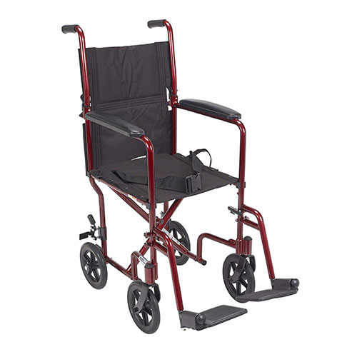 4. Drive Medical Deluxe Lightweight Aluminum Transport Wheelchair, Red, 17