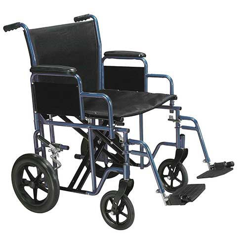 6. Drive Medical Bariatric Heavy Duty Transport Wheelchair with Swing-away Footrest, Blue