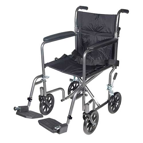 7. Drive Medical TR37E-SV Lightweight Steel Transport Wheelchair, Fixed Full Arms, 17-Inch Seat