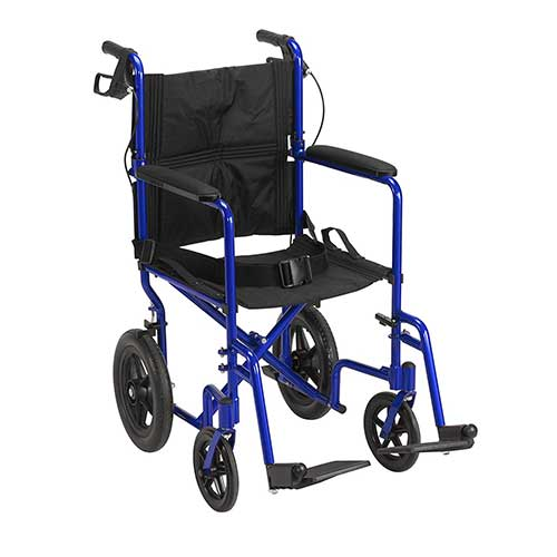 2. Drive Medical Lightweight Expedition Transport Wheelchair with Hand Brakes, Blue