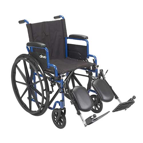 9. Drive Medical Blue Streak Wheelchair with Flip Back Desk Arms, Elevating Leg Rests, 18