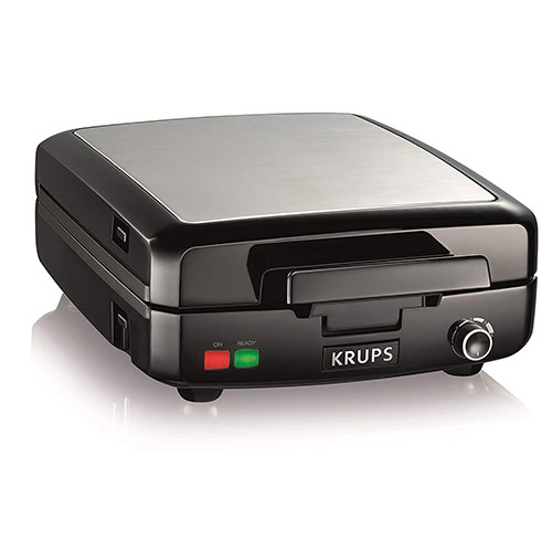 4. KRUPS Belgian Waffle Maker, Waffle Maker with Removable Plates, 4 Slices, Black and Silver