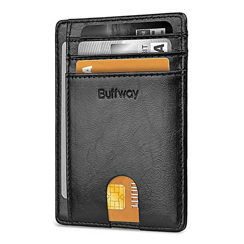 8. Buffway Slim Minimalist Front Pocket RFID Blocking Leather Wallets for Men Women