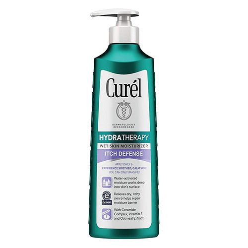4. Curel Skincare Hydra Therapy Itch Defense Wet Skin Moisturizer, 12 Ounce